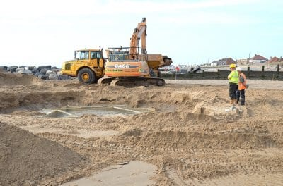 Creating the concrete base for the shell on Cleveleys beach