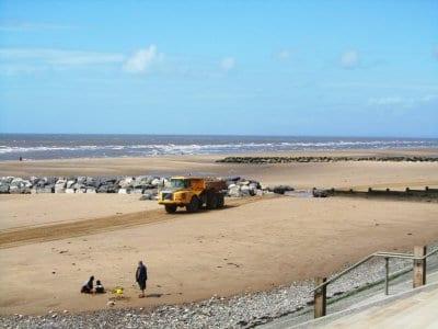 Gap left in the extended groyne on Cleveleys beach