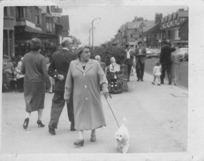 My grandmother, Mary Elizabeth Armstrong (Nan), walking Abilgail the poodle on Victoria Road. Circa 1960