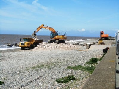 Loading the dumper with foundation stones at Cleveleys