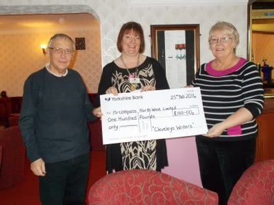 Cleveleys Writers present cheque to nCompass