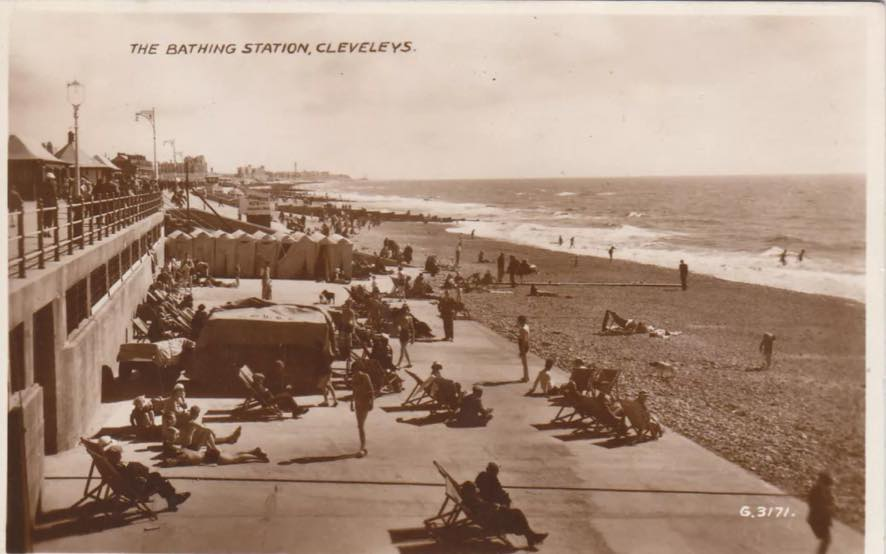 Bathing station on Cleveleys beach, mid 1930's
