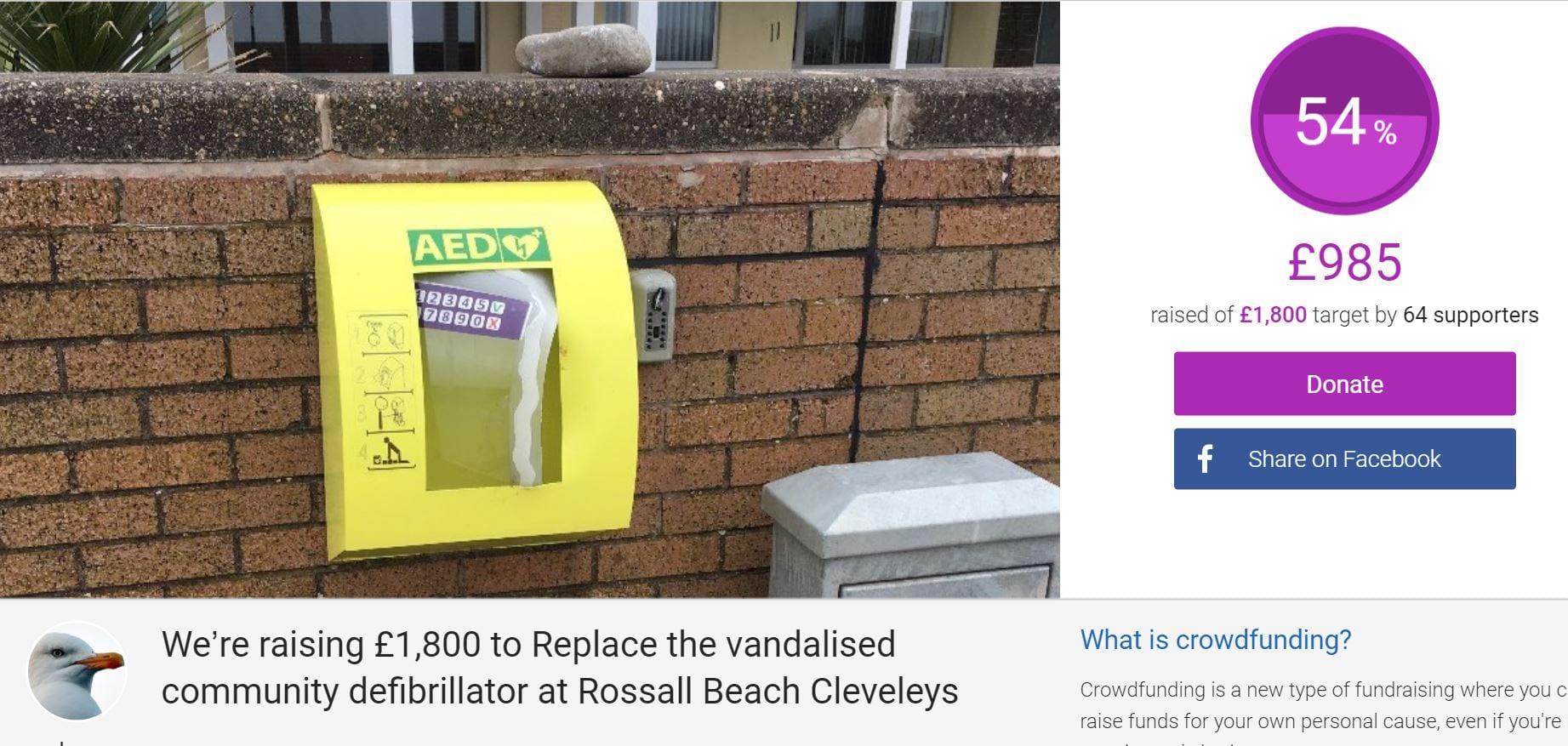 Crowd funding for vandalised defibrillator
