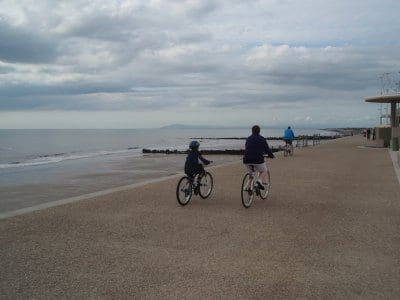 Cycling on the prom at Cleveleys
