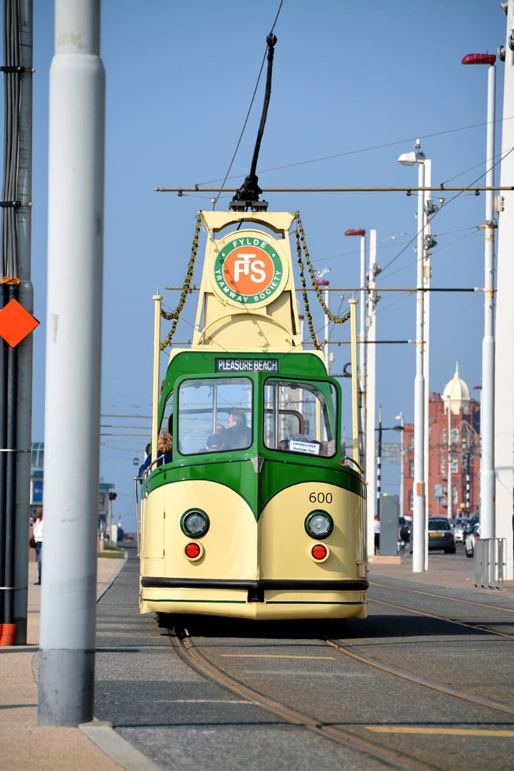 Open topped Heritage Tram on Blackpool promenade