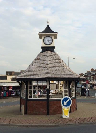 The restored Cleveleys Clock Shelter