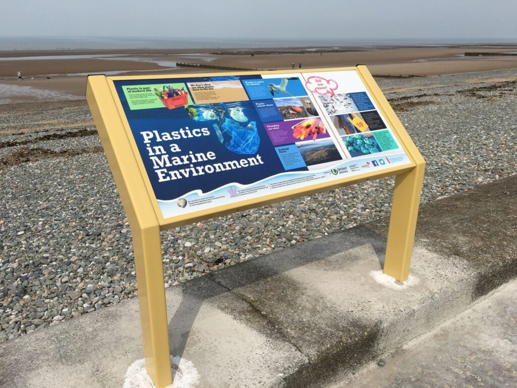 One of the newly installed information boards at Rossall Beach Cleveleys. This one is about plastics in a marine environment