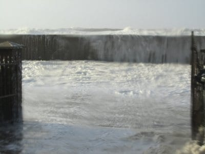 Cleveleys promenade under water