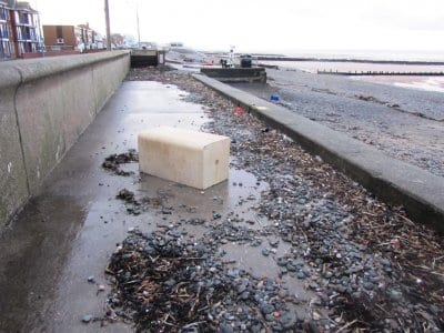 Debris and logs on the promenade at Cleveleys after the storm and flooding