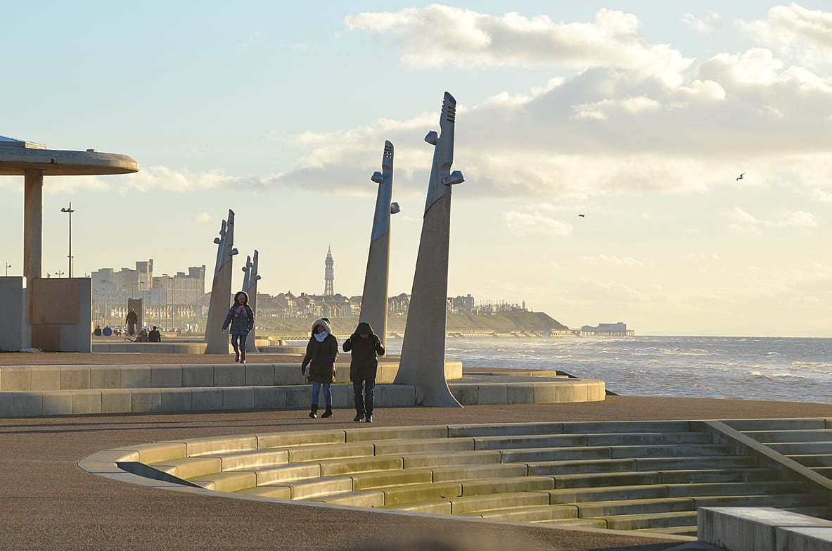 New Cleveleys promenade, about at end of Beach Road, round about where the bathing station was on Cleveleys beach
