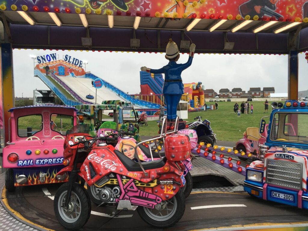 Funfair rides at Thornton Cleveleys Gala at Jubilee Gardens Cleveleys, 2016