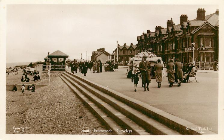 South Promenade Cleveleys in 1937, Tuck Postcards