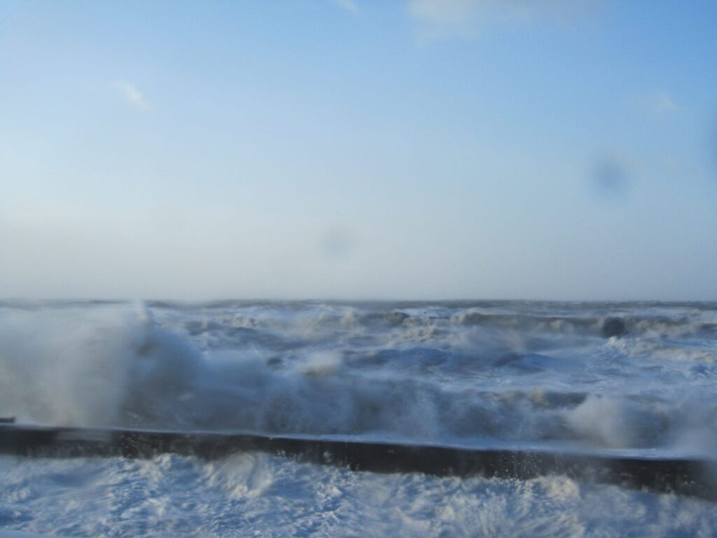 High waves and sea overtopping at Rossall Beach Cleveleys