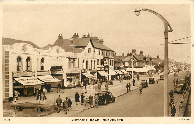 Victoria Road Cleveleys in 1937, from Tuck Postcards