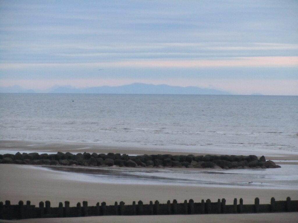 Hazy view of Wales, what you'll usually see from Cleveleys beach!