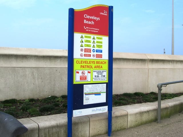 Beach safety information at Cleveleys, including information about dogs on beaches