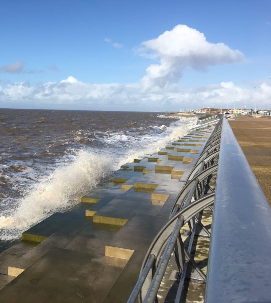 New sea defences at Princes Way Promenade, Anchorsholme, just outside Cleveleys