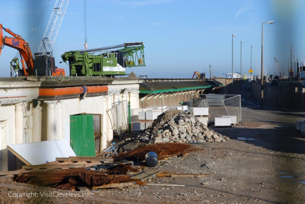 Building Cleveleys sea defences in 2007. This is the plaza area