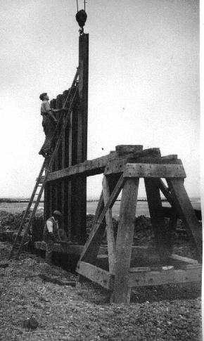 Building one of the wooden groynes
