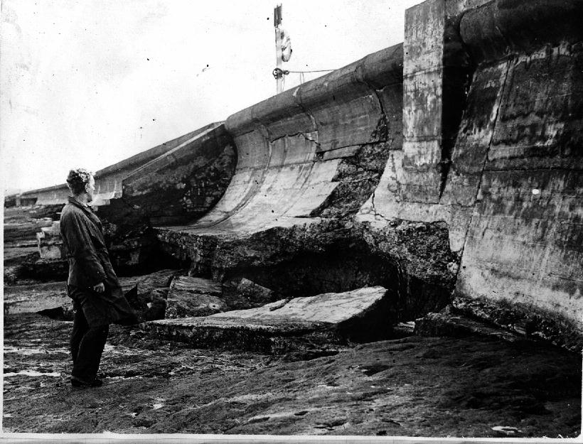 Surveying the damage of a collapsed sea wall at Cleveleys back in 1947