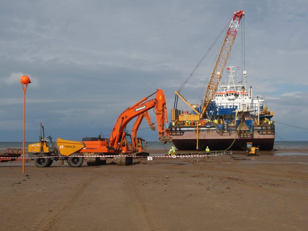 The Stemat Spirit cable barge beached on shore
