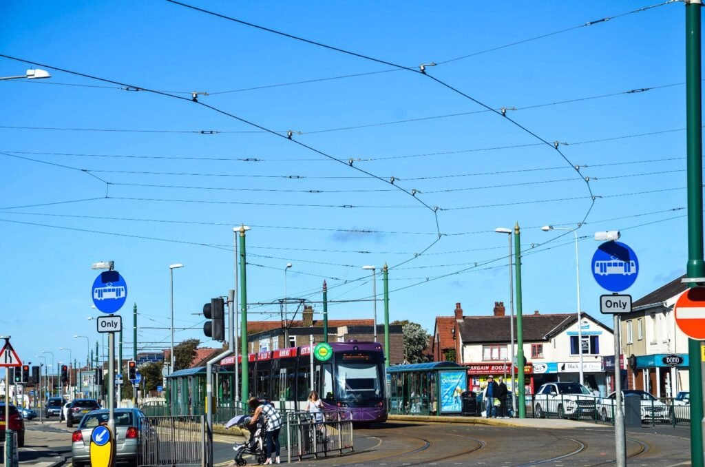 Shopping in Cleveleys at Victoria Square at the tramway in Cleveleys town centre