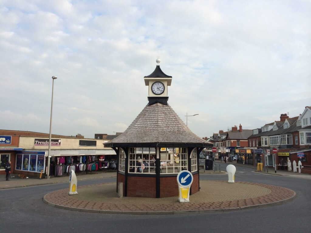 The clock shelter in Cleveleys. Restored and the clocks replaced in 2014 by the local community, led by Visit Cleveleys
