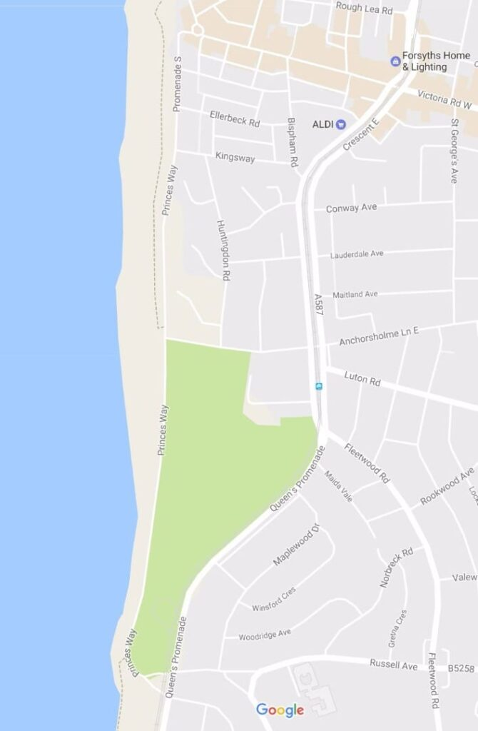Google map of Princes Way and Anchorsholme in relation to Cleveleys