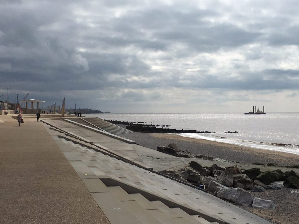 Ramp to the beach at Cleveleys, a break in the stepped promenade