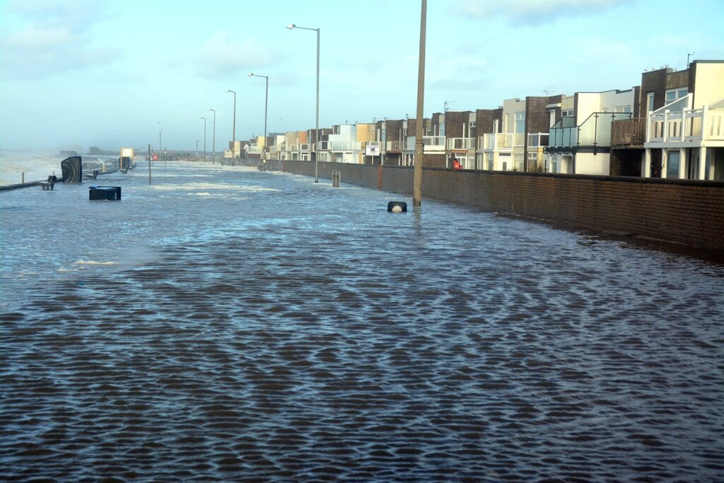 The pond left after overtopping at Rossall Beach Cleveleys during the storm of January 2014