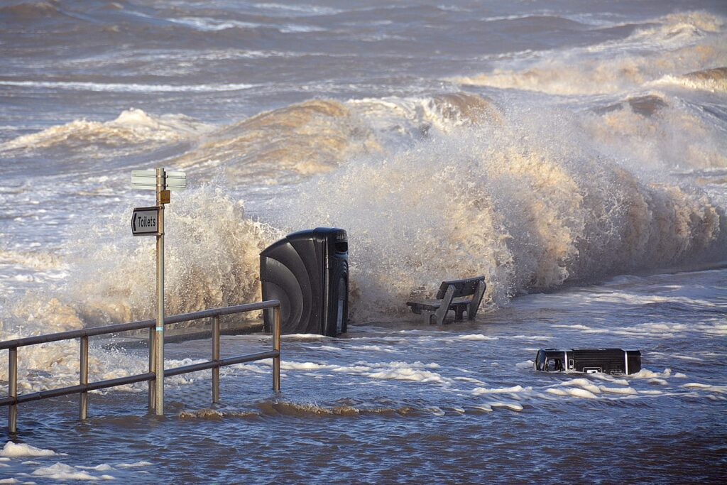 Sea overtopping at Rossall Beach Cleveleys during the storm of January 2014