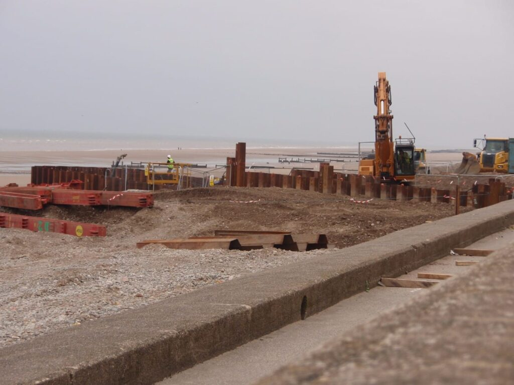 Cofferdam on Rossall Beach at Cleveleys. About the Walney Offshore Windfarm