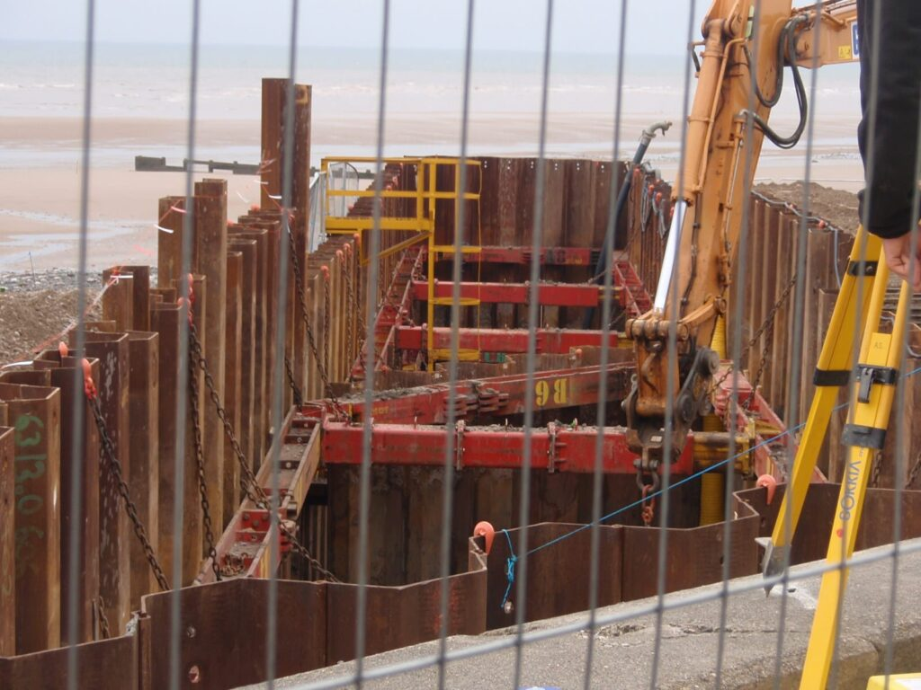 Looking into the cofferdam at Rossall Beach, built to allow the cable from the windfarm to be connected to land