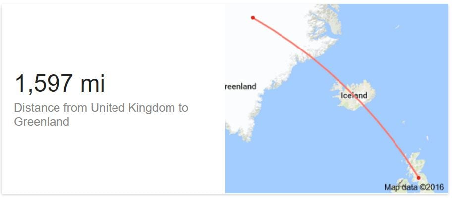 Distance from UK to Greenland: Google