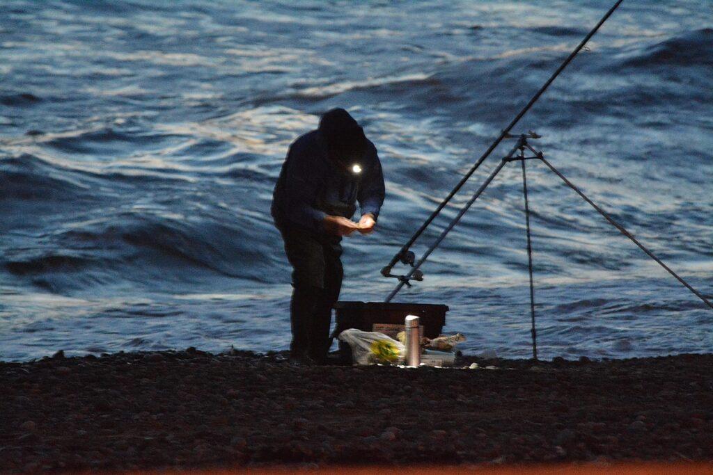 Fishing at night at Cleveleys