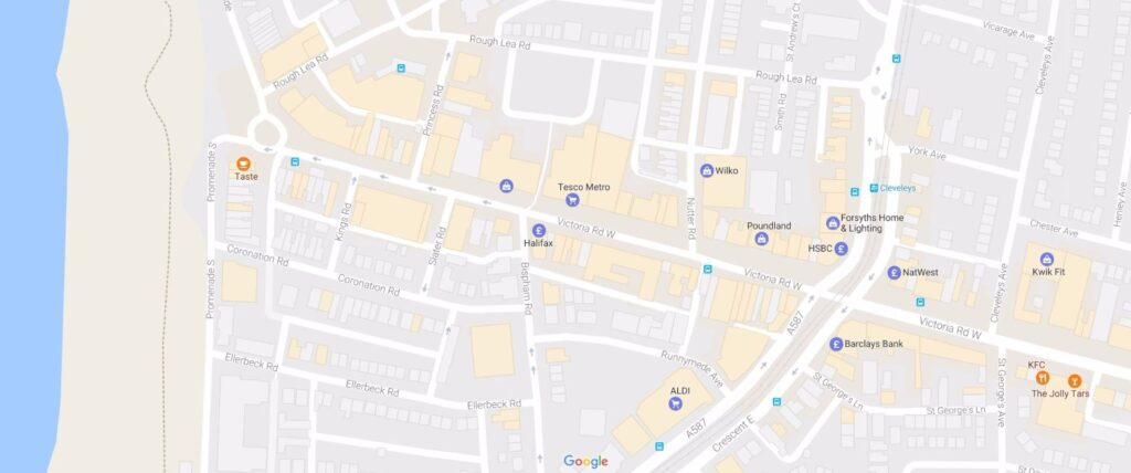 Google map of Cleveleys town centre