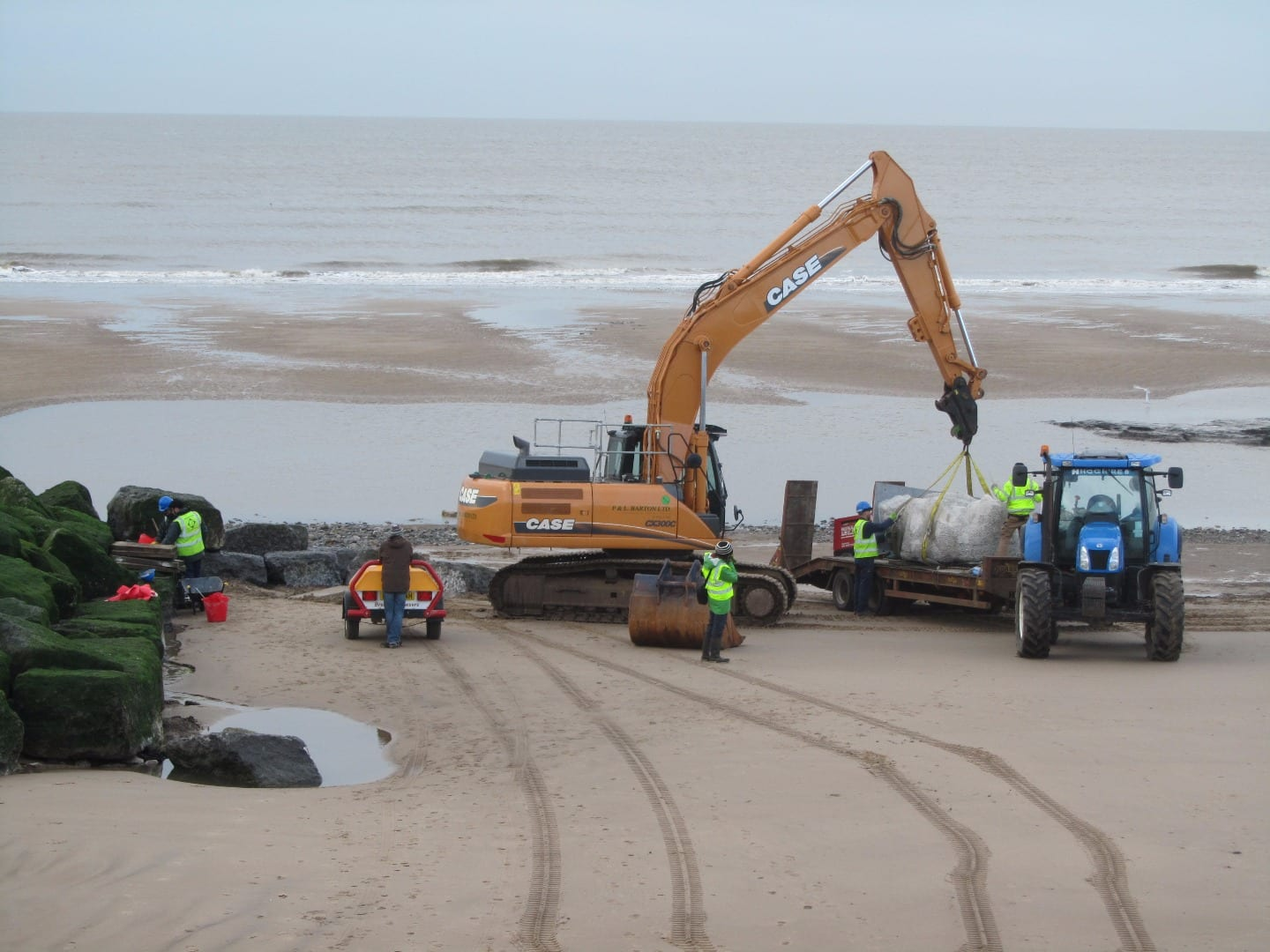 Putting the Stone Ogre on Cleveleys beach