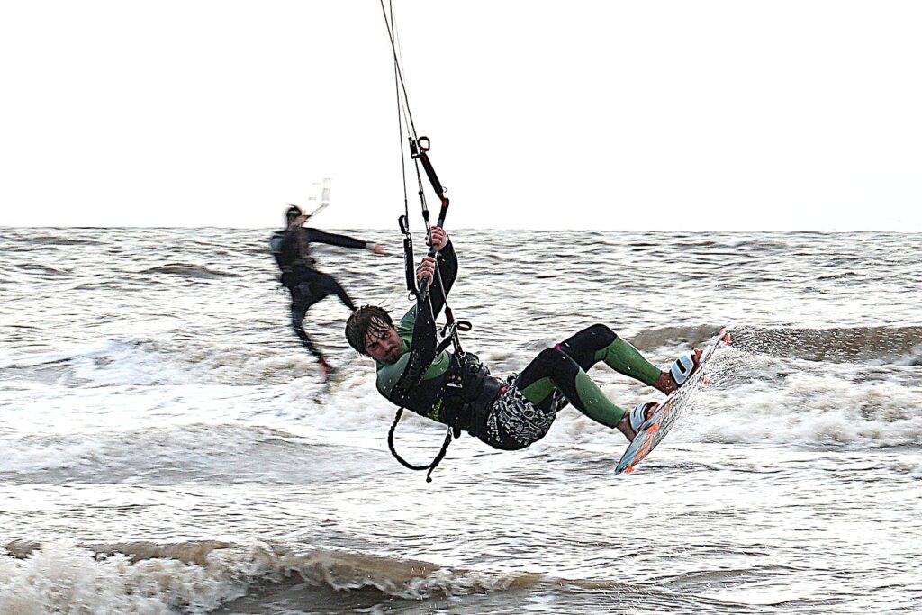 Acrobatic kitesurfing - one of the popular beach and watersports at Cleveleys