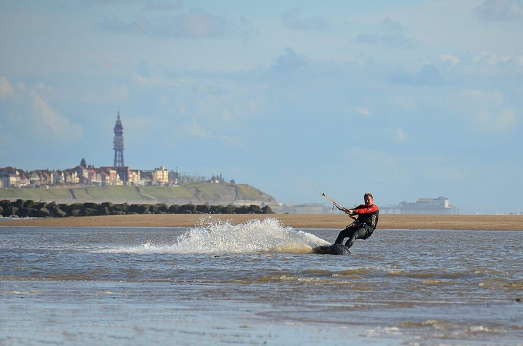 Kitesurfing at Rossall Beach Cleveleys