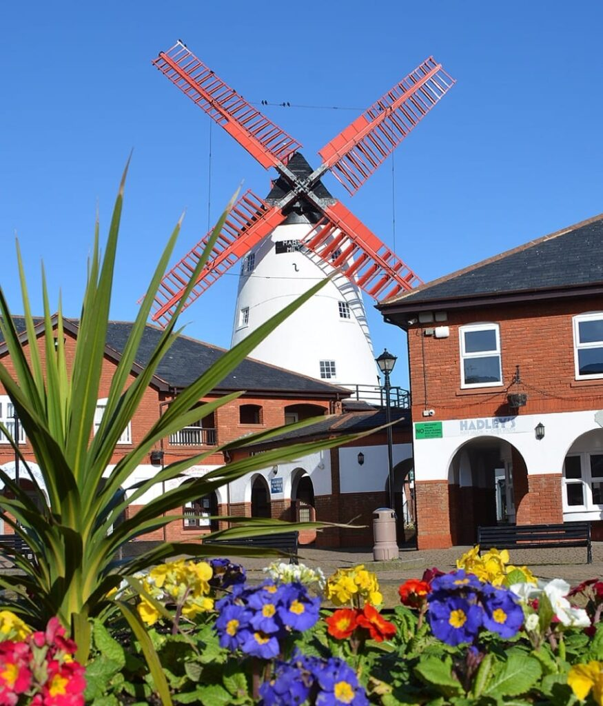 Marsh Mill Village and windmill. Shopping in Cleveleys