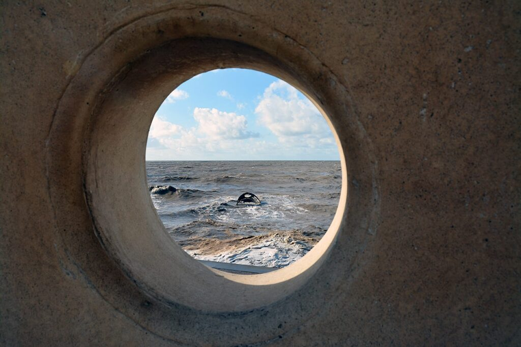 When the tide comes in on Mary's Shell on Cleveleys Beach it disappears underwater