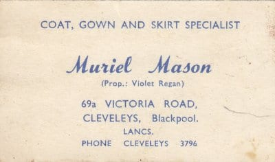 Business Card from Muriel Mason's