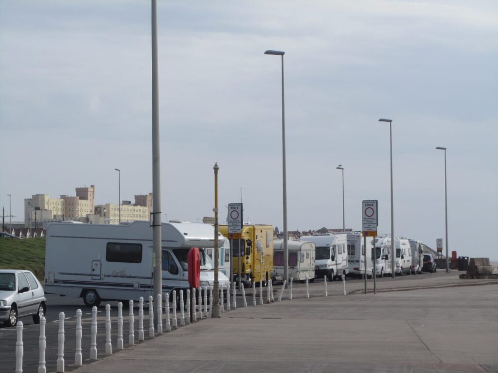 Camper vans and caravans at the old Princes Way Promenade