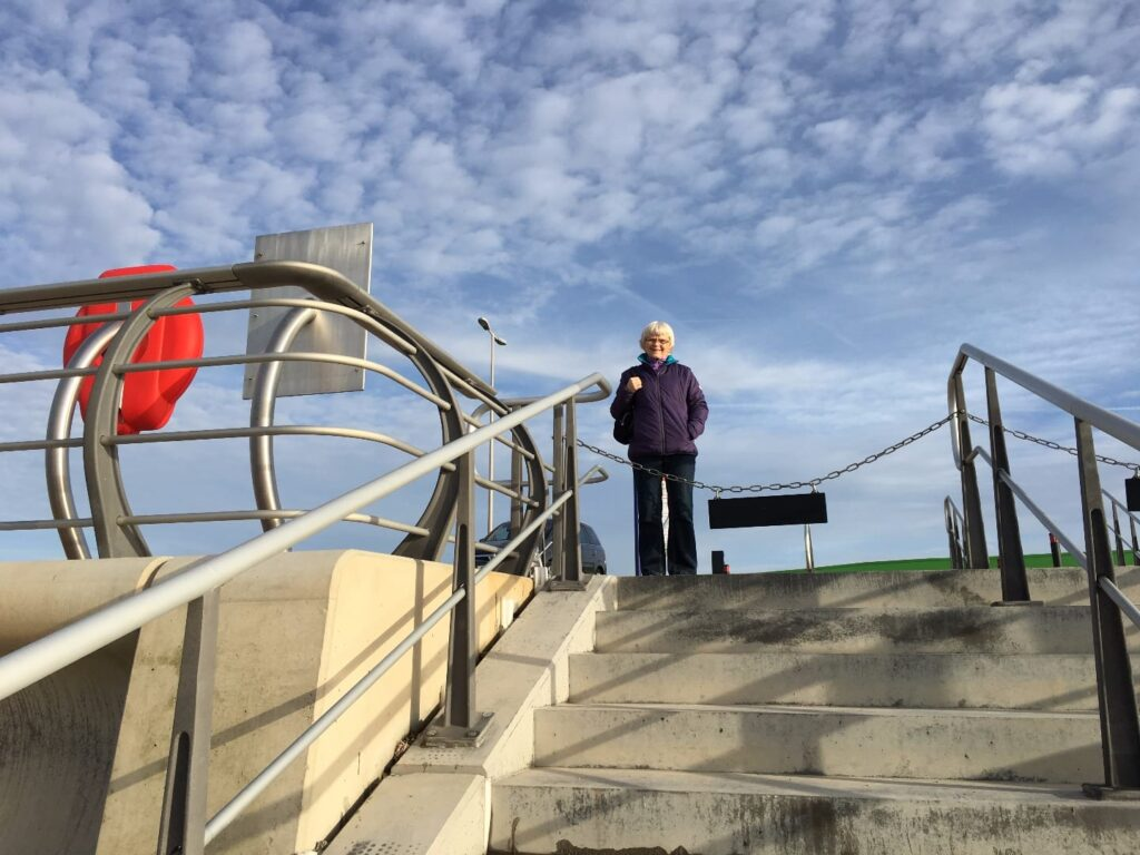 Beach access steps at Princes Way Promenade, at Anchorsholme, just outside Cleveleys