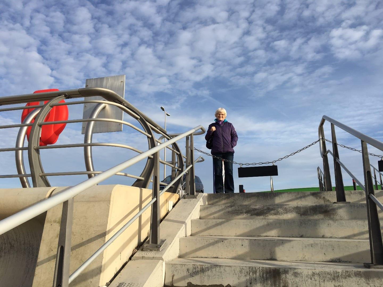 Beach access steps at Princes Way promenade Blackpool