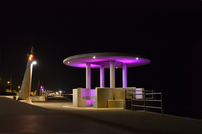 Cleveleys stepped promenade at night