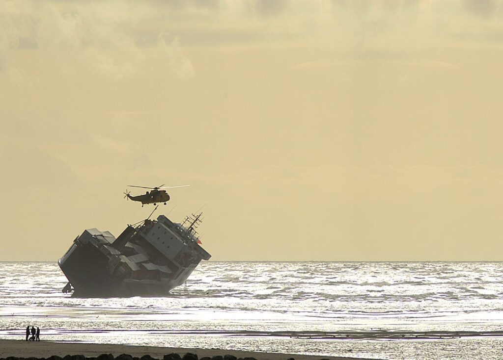 Riverdance Shipwreck being inspected by helicopter