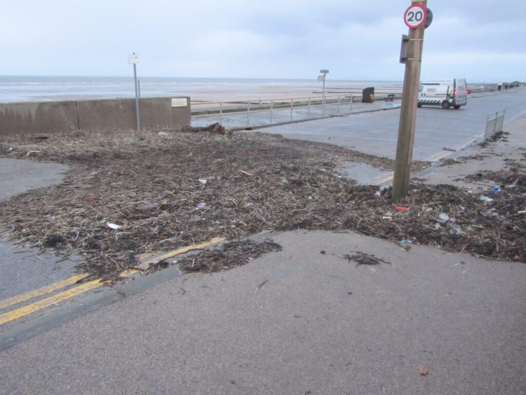 Some of the debris left behind at Rossall Beach after the storm of December 2013