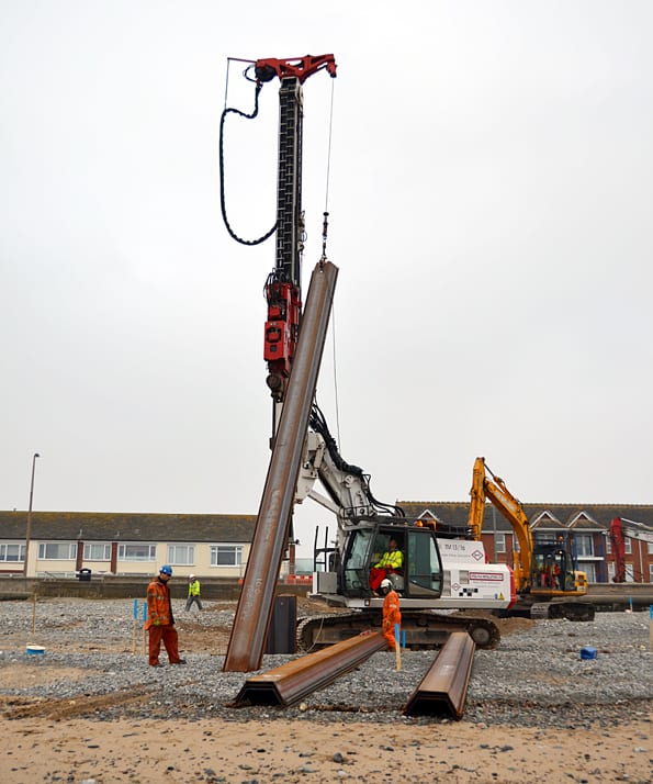 Sheet piling on Cleveleys beach to create cofferdam