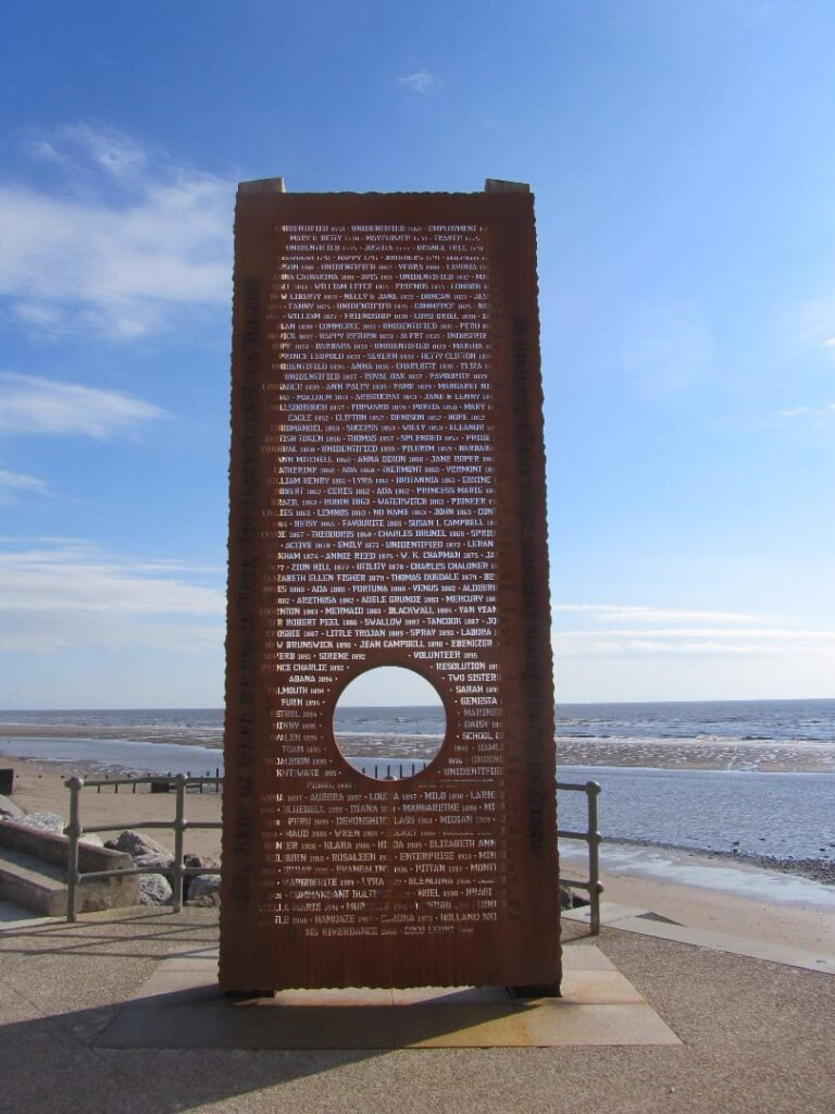 Shipwreck Memorial on Cleveleys promenade